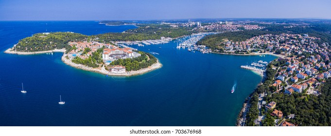 Aerial shot of Verudela bay near Pula Croatia