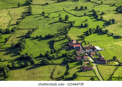 Aerial shot of village in Burgundy, France, Europe.