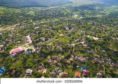 aerial shot of village with church