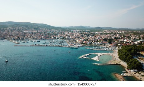 Aerial shot of the Vodice beach near the town of Sibenik,Croatia. A famous tourist destination on the Adriatic sea