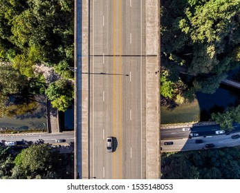 Aerial shot of Walnut street bridge, crossing the Fairmount Park in Philadelphia