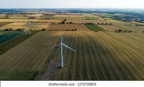 Aerial Shot of Windfarm with Agricultural Surroundings