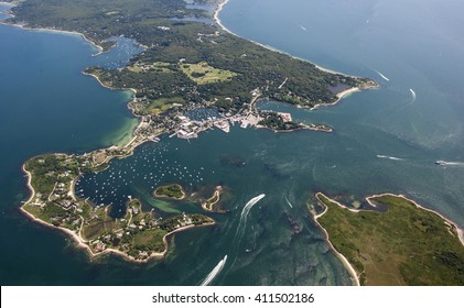 Aerial shot of Wood's Hole, MA.  One of the most dangerous passages in the area known for it strong, unpredictable currents and many rocks.