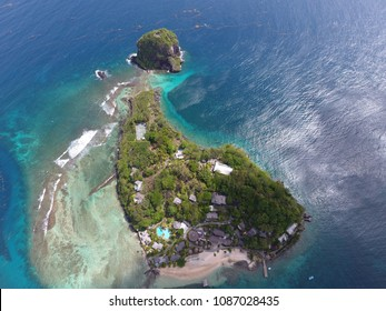 Aerial shot of Young Island:  A small tropical getaway 200 yards from St. Vincent's mainland and part of the Grenadines - 4 May 2018