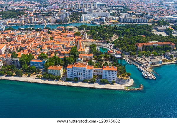 Aerial shot of Zadar old town, famous tourist attraction in Croatia.