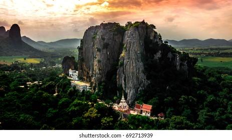 Aerial Side View Suwan Khiri Pidok temple, Unseen Lopburi Thailand