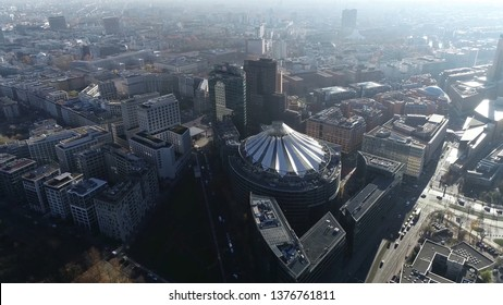 Aerial silhouette picture of buildings at Potsdamer Platz is an important public square and traffic intersection in centre of Berlin Germany and has been the site of major redevelopment projects
