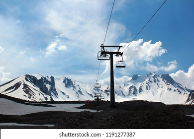 Aerial ski-lift at Mount Erciyes in central Anatolia, Turkey