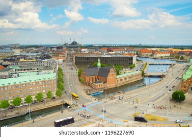 Aerial skyline of Copenhagen Old Town. Denmark