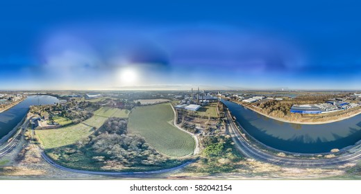 Aerial skyline of the harbour in Krefeld, Germany