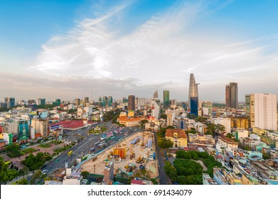 Aerial skyline of Ho Chi Minh city and Ben Thanh market at sunset. Ben Thanh market is one of the most iconic landmark for travel and tourism at Ho Chi Minh city.