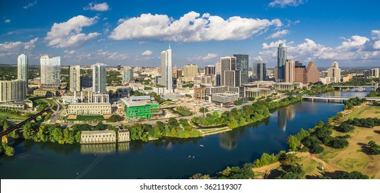 Aerial skyline shot of Austin, Texas