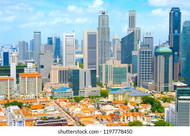 Aerial Skyline of Singapore Downtown Core and Chinatown