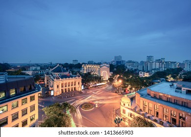 Aerial skyline view of Hanoi city, Vietnam. Hanoi cityscape by sunset period at August Revolution Square, with Hanoi Opera House