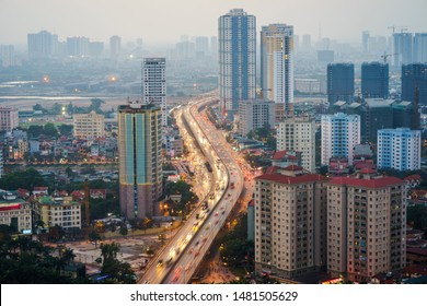 Aerial skyline view of Hanoi city, Vietnam. Hanoi cityscape by sunset period at Belt Road No. 3, Hoang Mai district
