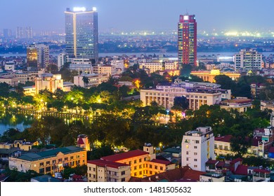 Aerial skyline view of Hanoi city, Vietnam. Hanoi cityscape by sunset period at Hoan Kiem district, center of Hanoi