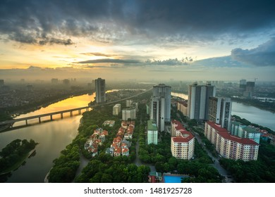 Aerial skyline view of Hanoi city, Vietnam. Hanoi cityscape by sunrise period at Linh Dam lake, Hoang Mai district