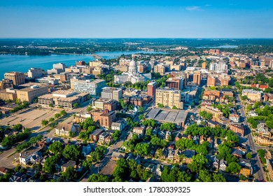 Aerial skyline view of Madison city downtown, morning light, summertime