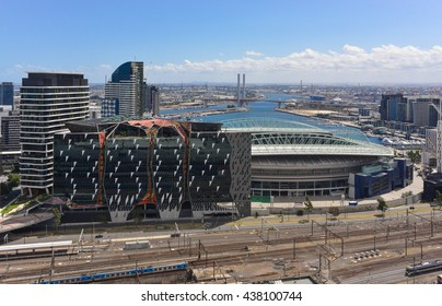 Aerial / skyline view of Melbourne and Docklands