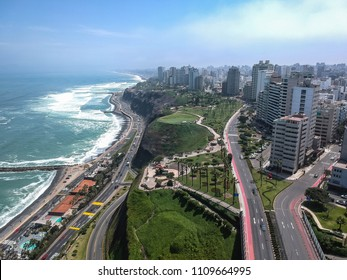 Aerial skyline view of Miraflores Lima Peru