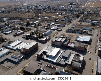 Aerial of a small farm town in the midwestern United States