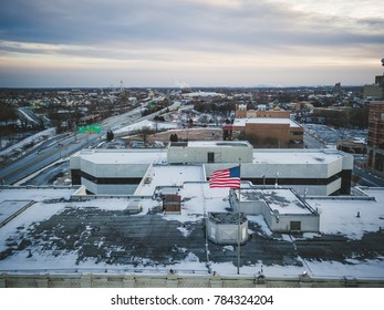 Aerial of Snow in New Jersey