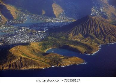 Aerial of Southeast corner of Oahu including Hawaii Kai, Koko Head Crater, Hanauma Bay, and Portlock.