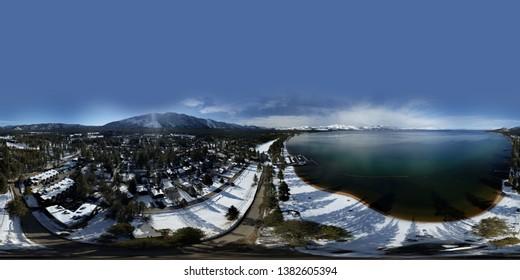 Aerial spherical equirectangular panorama above Lake Tahoe CA
