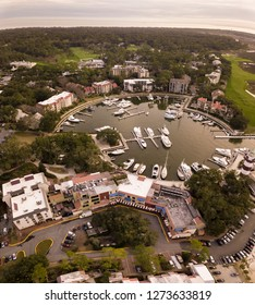 Aerial square format picture of Harbour Town marina in Hilton Head, South Carolina