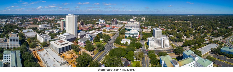 Aerial stitched panorama Downtown Tallahassee FL