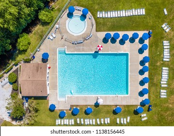 Aerial stock photo of outdoor public pool