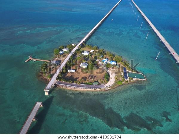 Aerial stock photo of Pigeon Key Florida