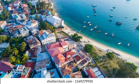 Aerial. Stone town, Zanzibar, Tanzania.