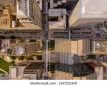 Aerial straight down view of skyscapers and cityscape in Oklahoma City, USA.