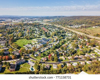 Aerial of the Suburbs in Red Lion, Pennsylvania in Fall