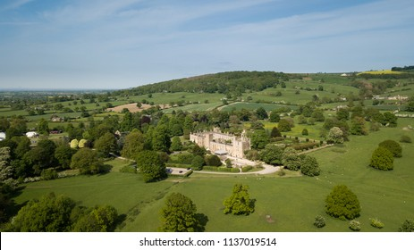 Aerial of Sudeley Castle Winchcombe in England Cotswolds midlands