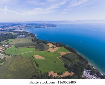 Aerial summer view of Bodensee, also known as Lake Constance, a lake on the Rhine at the northern foot of the Alps, a lake in Germany, Austria and Switzerland,