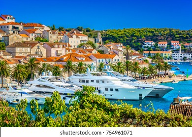 Aerial summer view at famous travel destination in Croatia, Hvar town scenery. / Selective focus.
