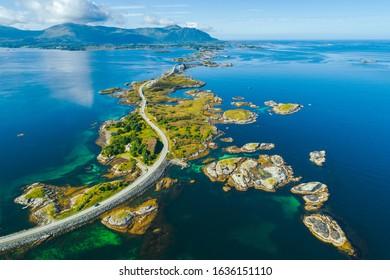 Aerial summer view of scenic Atlantic Ocean Road (Atlanterhavsveien)  in Norway