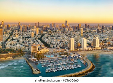 Aerial  sun set view of Mediterranean Seashore of Tel Aviv,  Israel.
