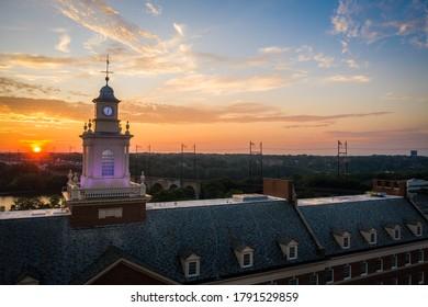 Aerial Sunrise of Rutgers University New Brunswick New Jersey