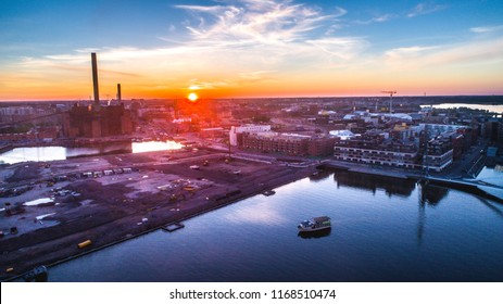 Aerial  Sunrise view of beautiful city Helsinki at Morning. Colorful sky and  colorful buildings. Helsinki, Finland.