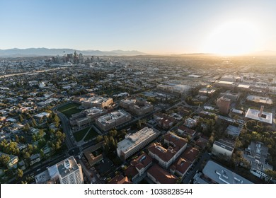 Aerial sunrise view of downtown Los Angeles, Jefferson Bl and the University of Southern California campus.