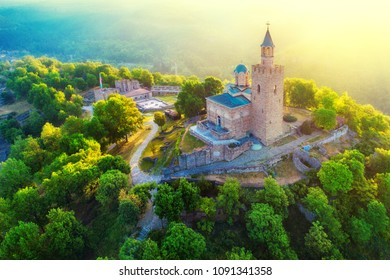 Aerial sunrise view of Tsarevets Fortress in Veliko Tarnovo in a beautiful summer day, Bulgaria 2018.
