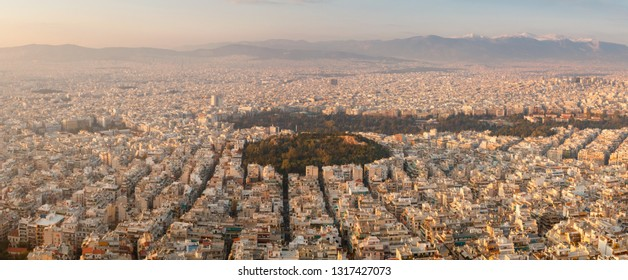 Aerial sunset birds eye view in sunlight taken from Lycabettus hill of Athens city, Greece