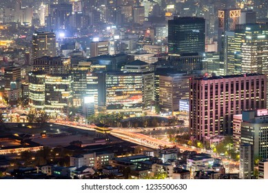 Aerial Sunset and Night view of Seoul Downtown cityscape in South Korea