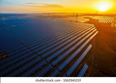 Aerial sunset outdoor new energy solar photovoltaic panels