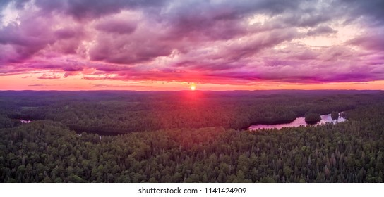 Aerial Sunset Over Lake