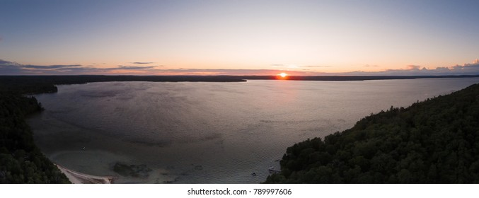 Aerial Of Sunset Over Lake