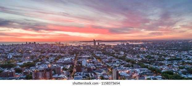 Aerial Sunset over Montevideo,Uruguay.